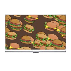 A Fun Cartoon Cheese Burger Tiling Pattern Business Card Holders by Simbadda