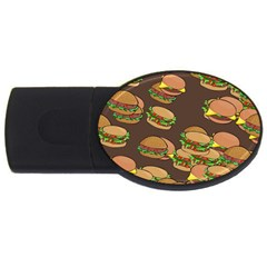 A Fun Cartoon Cheese Burger Tiling Pattern Usb Flash Drive Oval (4 Gb) by Simbadda