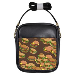 A Fun Cartoon Cheese Burger Tiling Pattern Girls Sling Bags by Simbadda