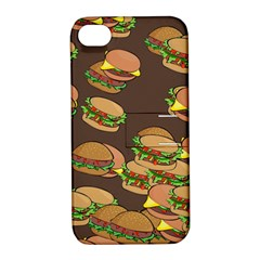 A Fun Cartoon Cheese Burger Tiling Pattern Apple Iphone 4/4s Hardshell Case With Stand by Simbadda