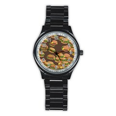 A Fun Cartoon Cheese Burger Tiling Pattern Stainless Steel Round Watch by Simbadda