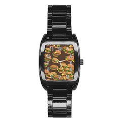 A Fun Cartoon Cheese Burger Tiling Pattern Stainless Steel Barrel Watch by Simbadda