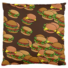A Fun Cartoon Cheese Burger Tiling Pattern Large Flano Cushion Case (one Side) by Simbadda