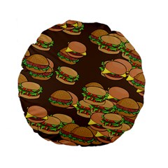 A Fun Cartoon Cheese Burger Tiling Pattern Standard 15  Premium Flano Round Cushions by Simbadda
