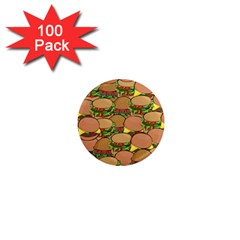 Burger Double Border 1  Mini Magnets (100 Pack)  by Simbadda