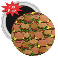Burger Double Border 3  Magnets (100 Pack) by Simbadda