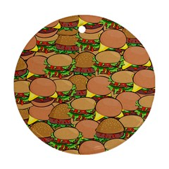 Burger Double Border Round Ornament (two Sides) by Simbadda