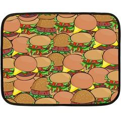 Burger Double Border Double Sided Fleece Blanket (mini)  by Simbadda