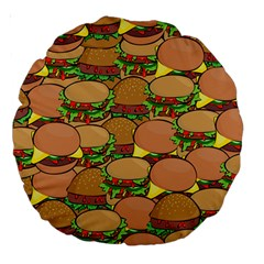 Burger Double Border Large 18  Premium Round Cushions by Simbadda