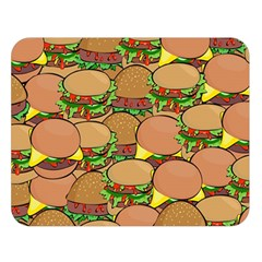 Burger Double Border Double Sided Flano Blanket (large)  by Simbadda