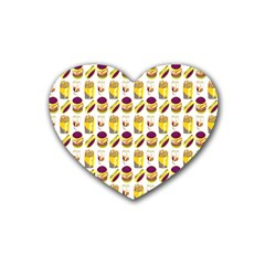 Hamburger And Fries Heart Coaster (4 Pack)  by Simbadda