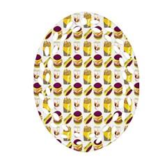Hamburger And Fries Oval Filigree Ornament (two Sides) by Simbadda