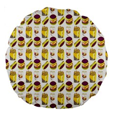 Hamburger And Fries Large 18  Premium Round Cushions by Simbadda