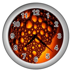 Bubbles Abstract Art Gold Golden Wall Clocks (silver)  by Simbadda