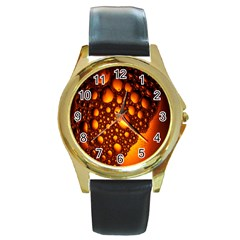 Bubbles Abstract Art Gold Golden Round Gold Metal Watch by Simbadda