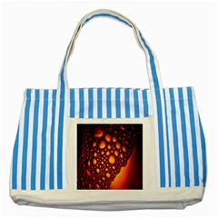 Bubbles Abstract Art Gold Golden Striped Blue Tote Bag by Simbadda