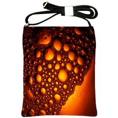 Bubbles Abstract Art Gold Golden Shoulder Sling Bags by Simbadda