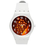 Bubbles Abstract Art Gold Golden Round Plastic Sport Watch (M) Front
