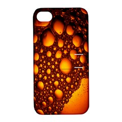 Bubbles Abstract Art Gold Golden Apple Iphone 4/4s Hardshell Case With Stand by Simbadda