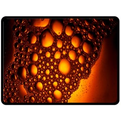 Bubbles Abstract Art Gold Golden Double Sided Fleece Blanket (large)  by Simbadda
