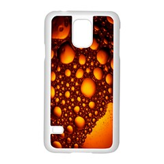 Bubbles Abstract Art Gold Golden Samsung Galaxy S5 Case (white) by Simbadda