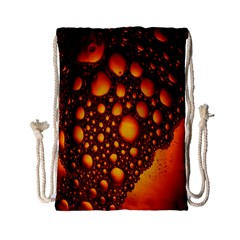 Bubbles Abstract Art Gold Golden Drawstring Bag (small) by Simbadda