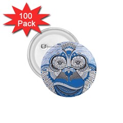 Pattern Monkey New Year S Eve 1 75  Buttons (100 Pack)  by Simbadda