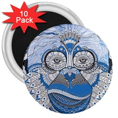Pattern Monkey New Year S Eve 3  Magnets (10 Pack)  by Simbadda