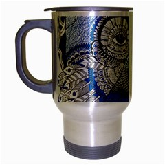 Pattern Monkey New Year S Eve Travel Mug (silver Gray) by Simbadda