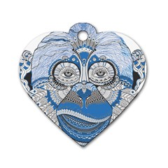 Pattern Monkey New Year S Eve Dog Tag Heart (two Sides) by Simbadda