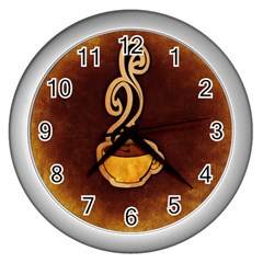 Coffee Drink Abstract Wall Clocks (silver)  by Simbadda