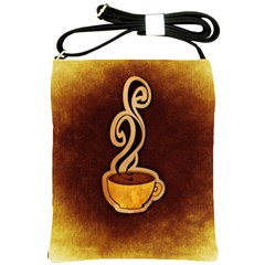 Coffee Drink Abstract Shoulder Sling Bags by Simbadda