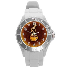 Coffee Drink Abstract Round Plastic Sport Watch (l) by Simbadda