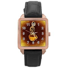 Coffee Drink Abstract Rose Gold Leather Watch  by Simbadda
