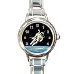 ASTRONAUT FLOATING IN SPACE ROUND ITALIAN CHARM WATCH