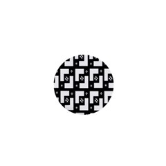 Abstract Pattern Background  Wallpaper In Black And White Shapes, Lines And Swirls 1  Mini Magnets by Simbadda