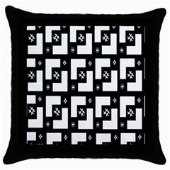 Abstract Pattern Background  Wallpaper In Black And White Shapes, Lines And Swirls Throw Pillow Case (black) by Simbadda