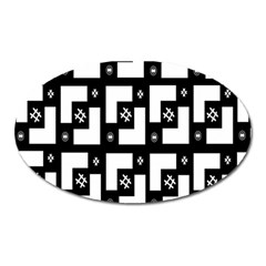 Abstract Pattern Background  Wallpaper In Black And White Shapes, Lines And Swirls Oval Magnet by Simbadda