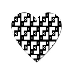 Abstract Pattern Background  Wallpaper In Black And White Shapes, Lines And Swirls Heart Magnet by Simbadda