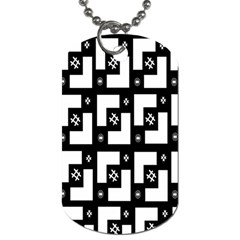 Abstract Pattern Background  Wallpaper In Black And White Shapes, Lines And Swirls Dog Tag (two Sides) by Simbadda