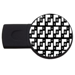 Abstract Pattern Background  Wallpaper In Black And White Shapes, Lines And Swirls Usb Flash Drive Round (2 Gb) by Simbadda