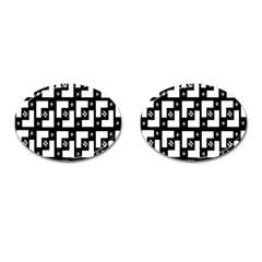 Abstract Pattern Background  Wallpaper In Black And White Shapes, Lines And Swirls Cufflinks (oval) by Simbadda