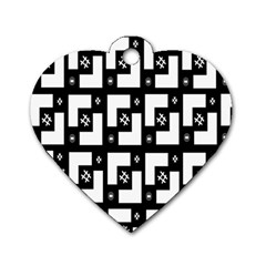 Abstract Pattern Background  Wallpaper In Black And White Shapes, Lines And Swirls Dog Tag Heart (two Sides) by Simbadda