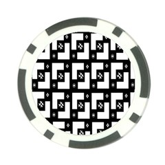 Abstract Pattern Background  Wallpaper In Black And White Shapes, Lines And Swirls Poker Chip Card Guard by Simbadda