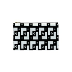 Abstract Pattern Background  Wallpaper In Black And White Shapes, Lines And Swirls Cosmetic Bag (small)  by Simbadda