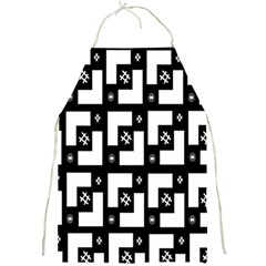 Abstract Pattern Background  Wallpaper In Black And White Shapes, Lines And Swirls Full Print Aprons