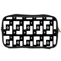 Abstract Pattern Background  Wallpaper In Black And White Shapes, Lines And Swirls Toiletries Bags by Simbadda