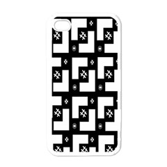 Abstract Pattern Background  Wallpaper In Black And White Shapes, Lines And Swirls Apple Iphone 4 Case (white) by Simbadda