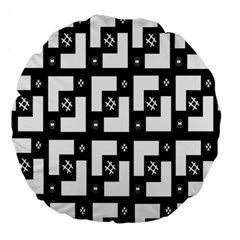 Abstract Pattern Background  Wallpaper In Black And White Shapes, Lines And Swirls Large 18  Premium Round Cushions by Simbadda