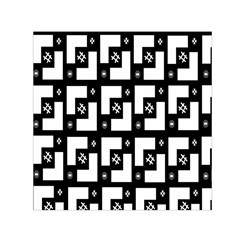 Abstract Pattern Background  Wallpaper In Black And White Shapes, Lines And Swirls Small Satin Scarf (square) by Simbadda